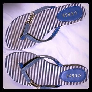 Guess Brand Flip Flops Blue & White Size 8